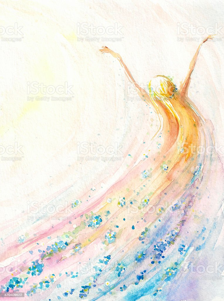 Flying woman vector art illustration