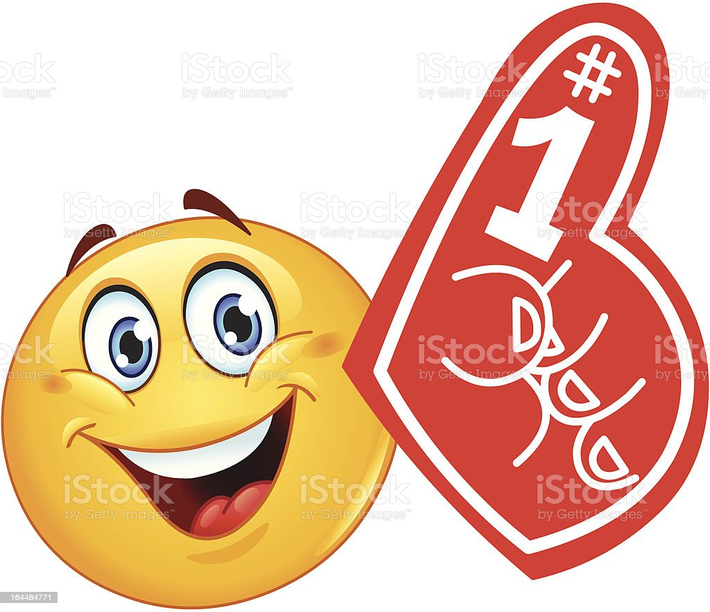 Foam finger emoticon vector art illustration