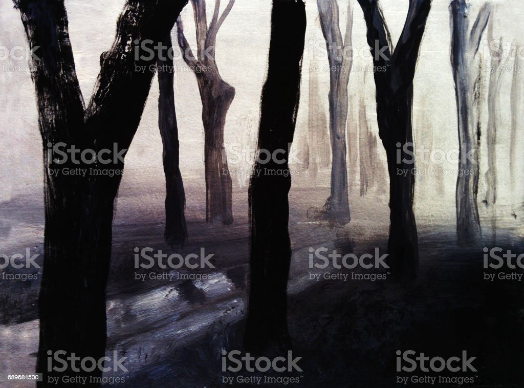 Fog in the forest, hand drawing illustration vector art illustration