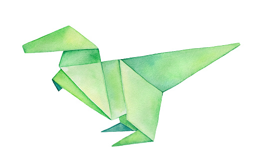 Folded Origami Dinosaur watercolour illustration. Hand drawn water color drawing on white background, artistic clipart element for creative design, merchandise, logo, poster, sticker, t-shirt print.