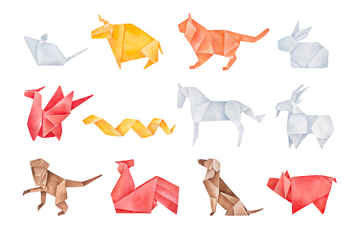 Folded origami pack of twelve traditional Chinese Zodiac Animals. Red, yellow, brown, orange, light gray colors. Hand drawn watercolour graphic drawing, cutout clip art elements for creative design.