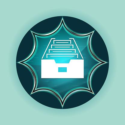 Folder archive cabinet icon magical glassy sunburst blue button sky blue background