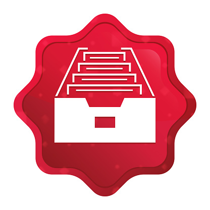 Folder archive cabinet icon misty rose red starburst sticker button