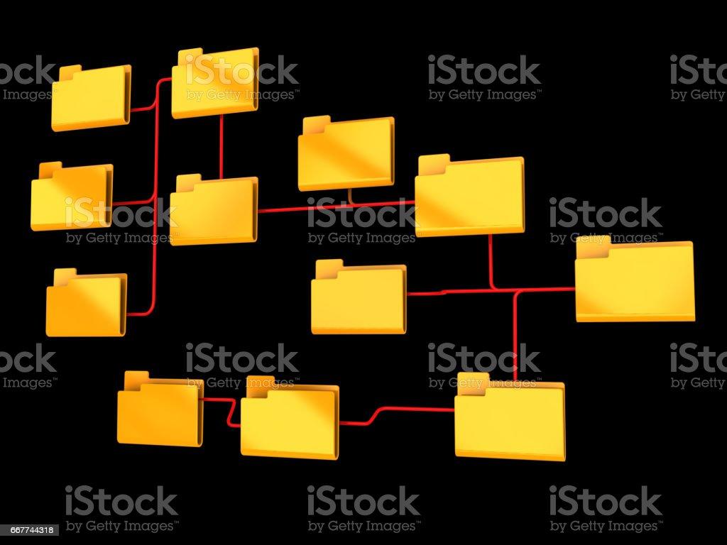 folders structure vector art illustration