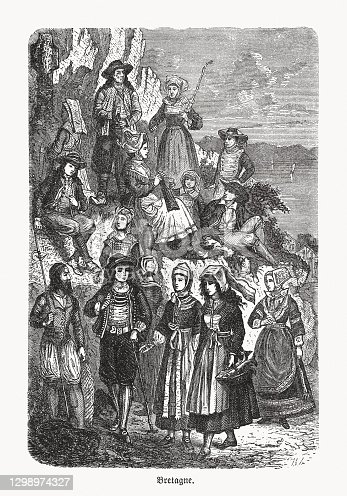Folk costumes in Brittany, France. Wood engraving, published in 1893.