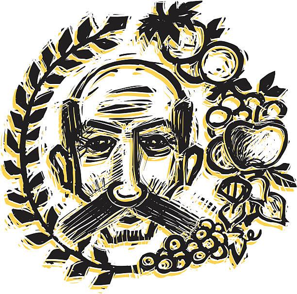 folk man - old man face cartoon stock illustrations, clip art, cartoons, & icons