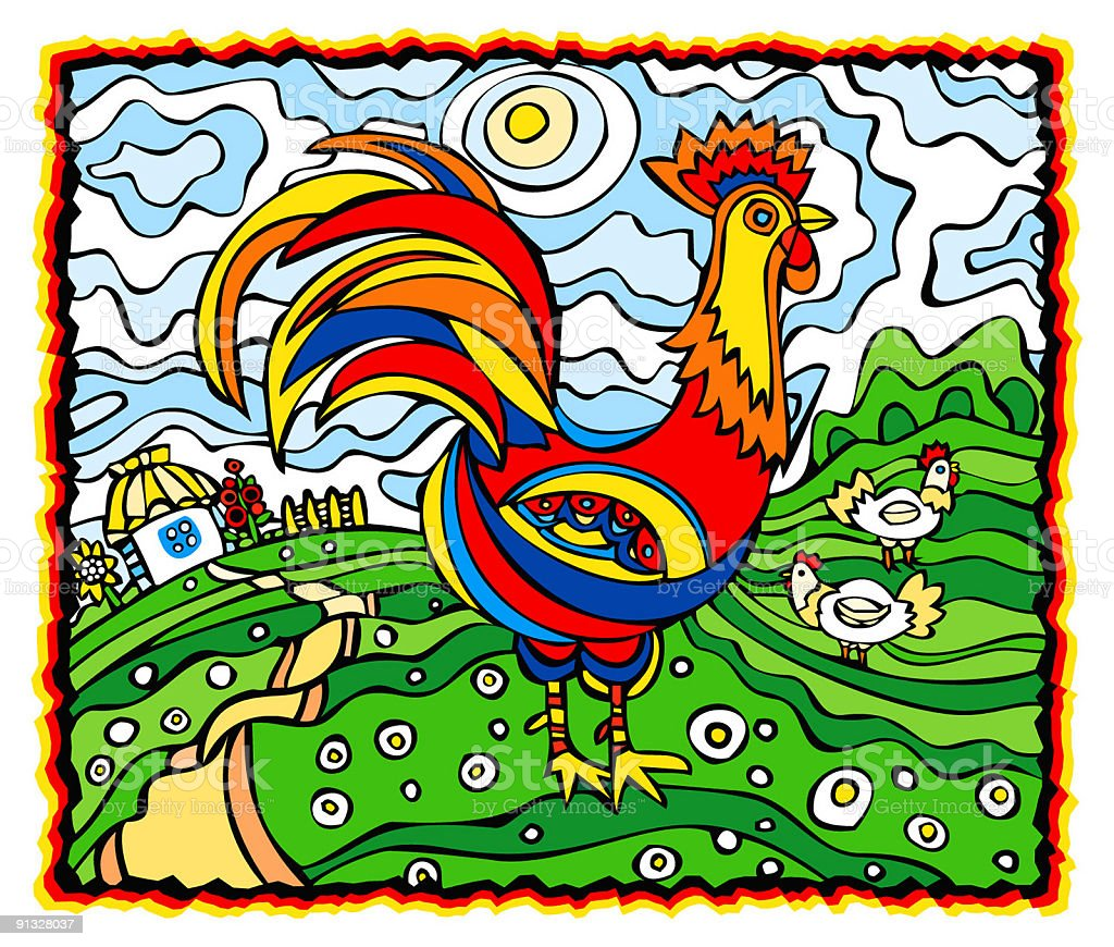 Folk-style Rooster royalty-free folkstyle rooster stock vector art & more images of art