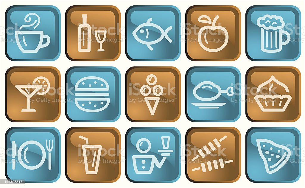Set of food and drink buttons