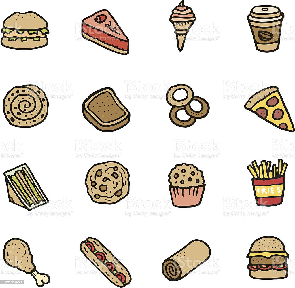Food and drink doodle icon set vector art illustration
