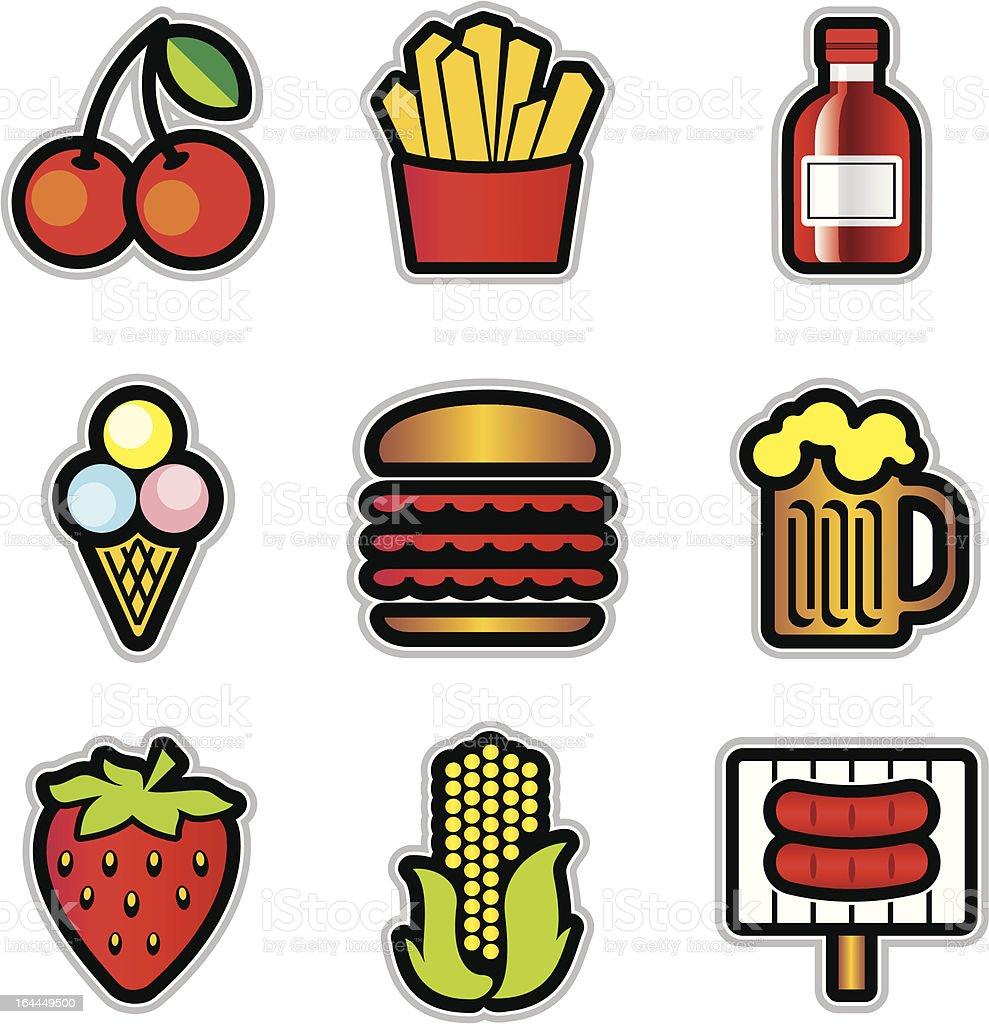 food contur icons vector art illustration