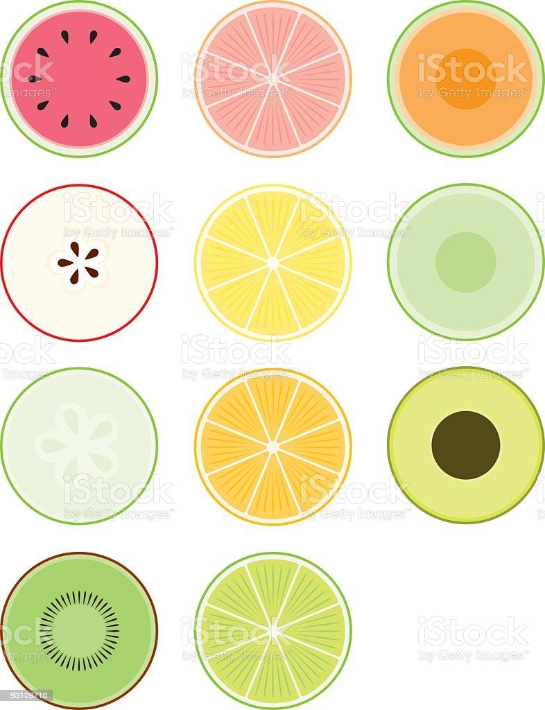 食品のそれぞれの断面 かんきつ類のベクターアート素材や画像を多数ご