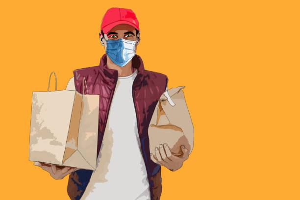 ilustrações de stock, clip art, desenhos animados e ícones de food delivery man wearing medical mask. corona virus concept - covid restaurant