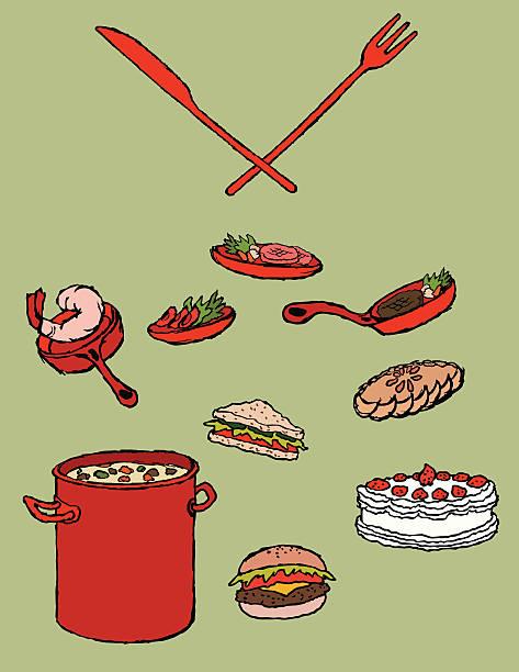 "lebensmittel icons set ~~"" - lachskuchen stock-grafiken, -clipart, -cartoons und -symbole"