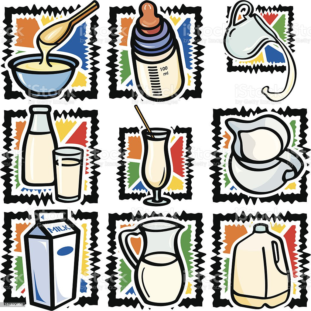Food IX: Milks (Vector) royalty-free stock vector art