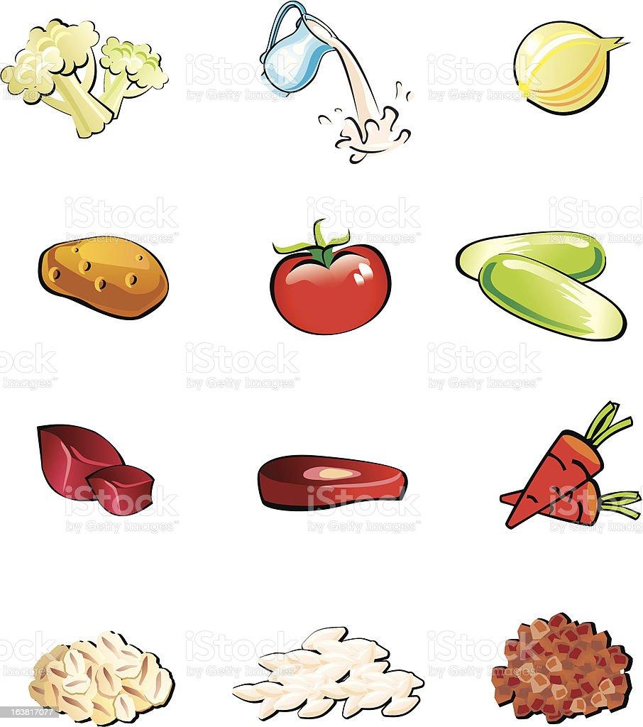 Food set vector art illustration