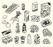 Food set. Sketch style