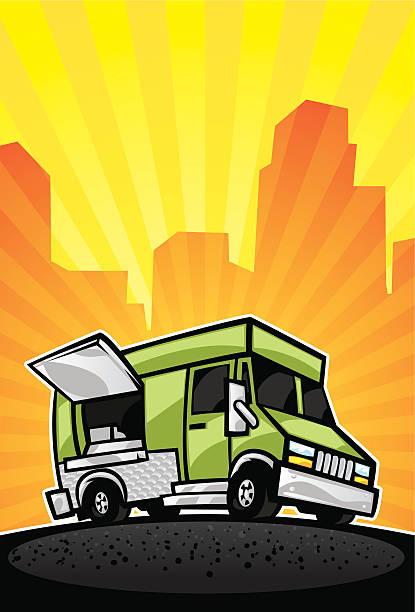 food truck background vector art illustration