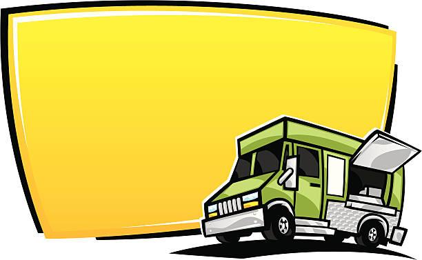 food truck banner vector art illustration