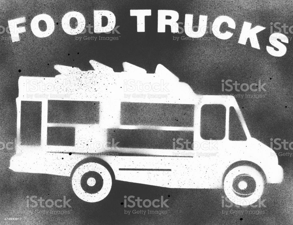 Food Truck Stencil vector art illustration