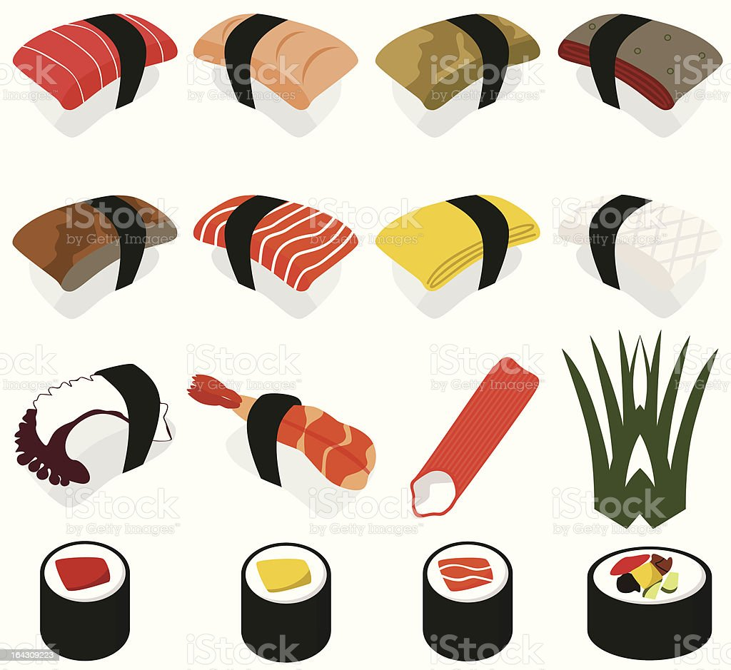 Food vector Icons : Japanese Cuisine - Sushi (set#2) royalty-free stock vector art