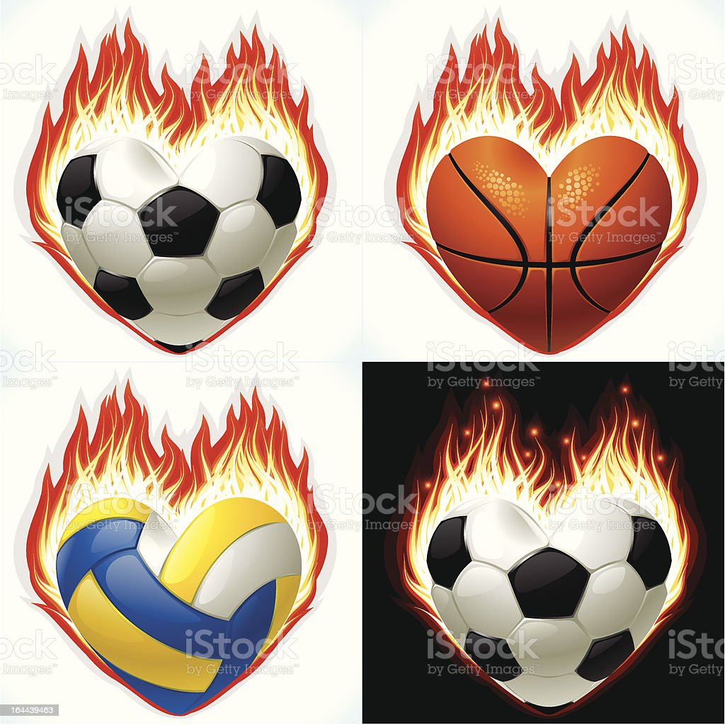 Football, basketball and volleyball on fire vector art illustration