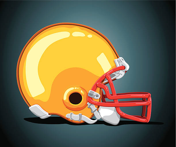 Football Helmet Gold Side View Hand-Drawn Vector Illustration of a gold colored American Football Helmet (Side View). The background is on a separate layer, so you can use the illustration on your own background. The colors in the .eps-file are ready for print (CMYK). Included files: EPS (v8) and Hi-Res JPG. american football stock illustrations