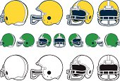 """A vector illustration of the front, side, front 3/4, and back 3/4 view of a football helmet.  The bottom row of helmets on the page are 1 color versions."""