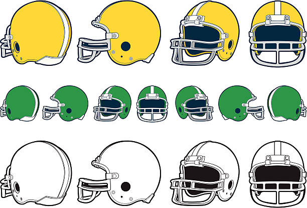 "Football Helmet ""A vector illustration of the front, side, front 3/4, and back 3/4 view of a football helmet.  The bottom row of helmets on the page are 1 color versions."" football helmet stock illustrations"