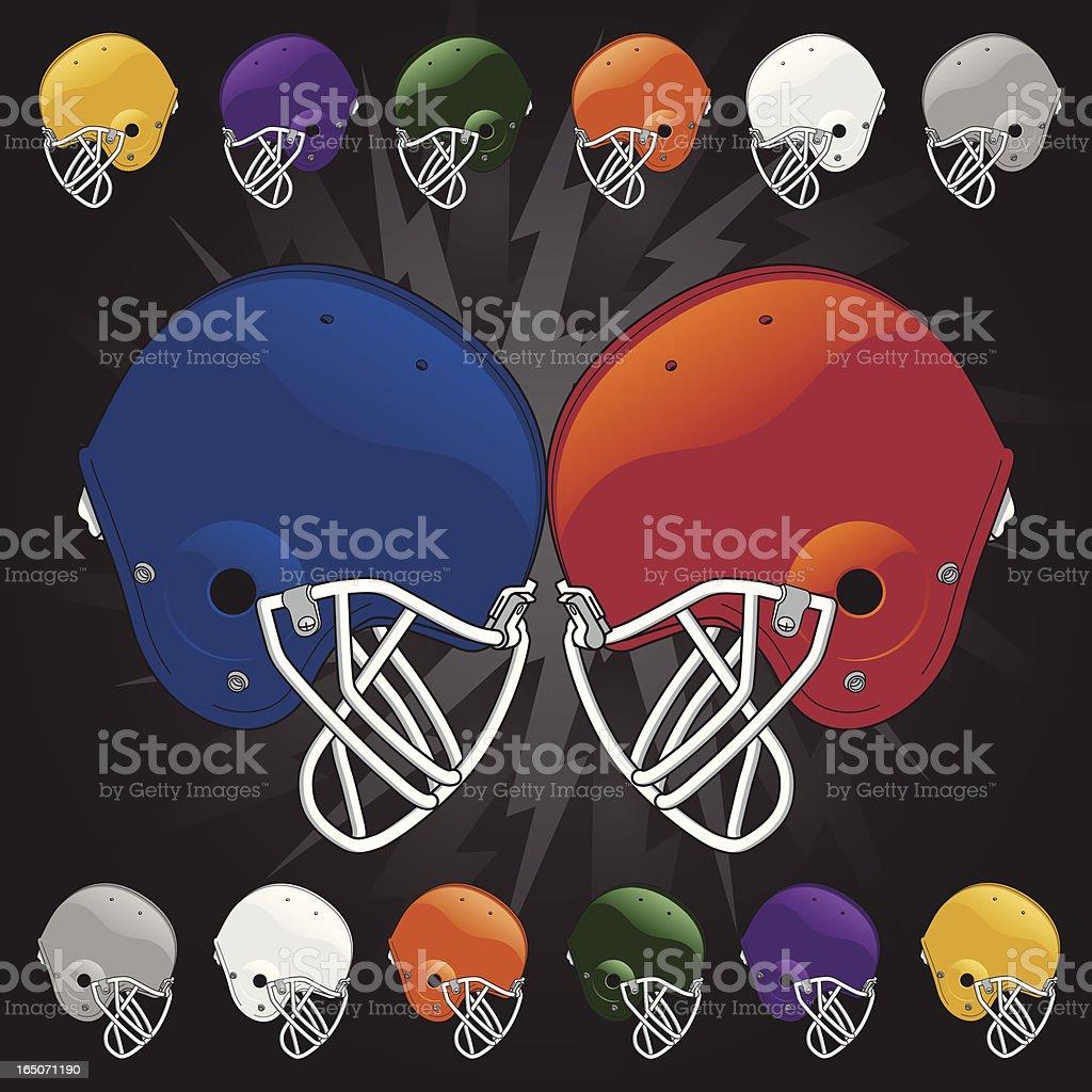 Football Helmets Clash royalty-free stock vector art
