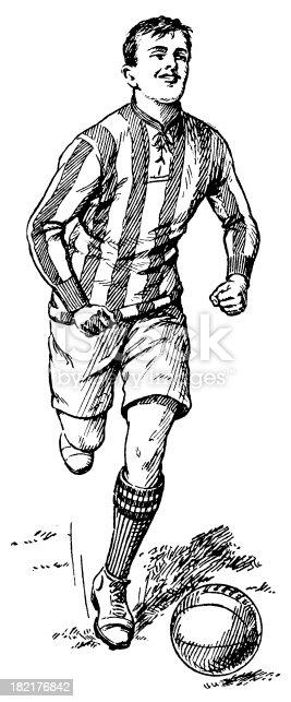istock Football player   Antique Sport Illustrations 182176842