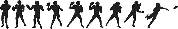 Football player throwing ball Football player throwing ball quarterback stock illustrations