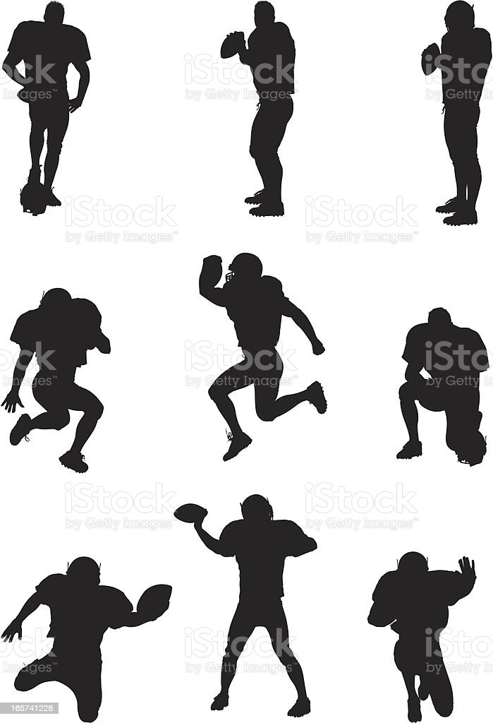 Football players in action vector art illustration