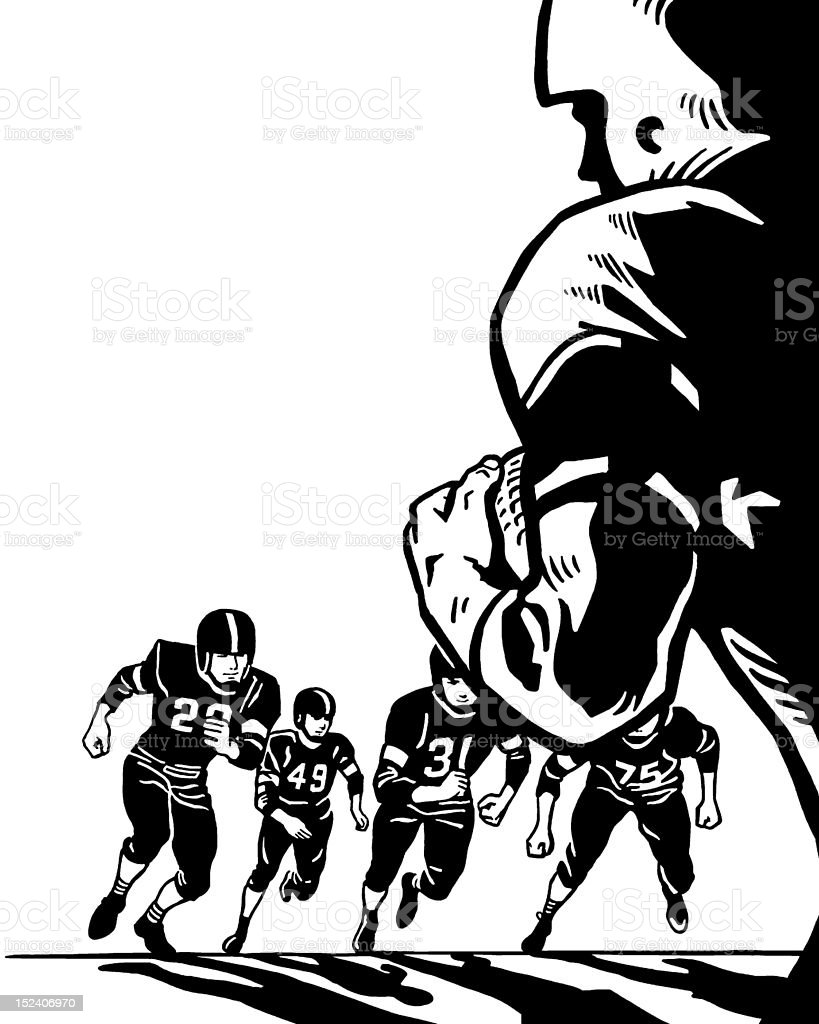 Football Players Running royalty-free stock vector art