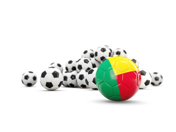 Football with flag of benin isolated on white vector art illustration