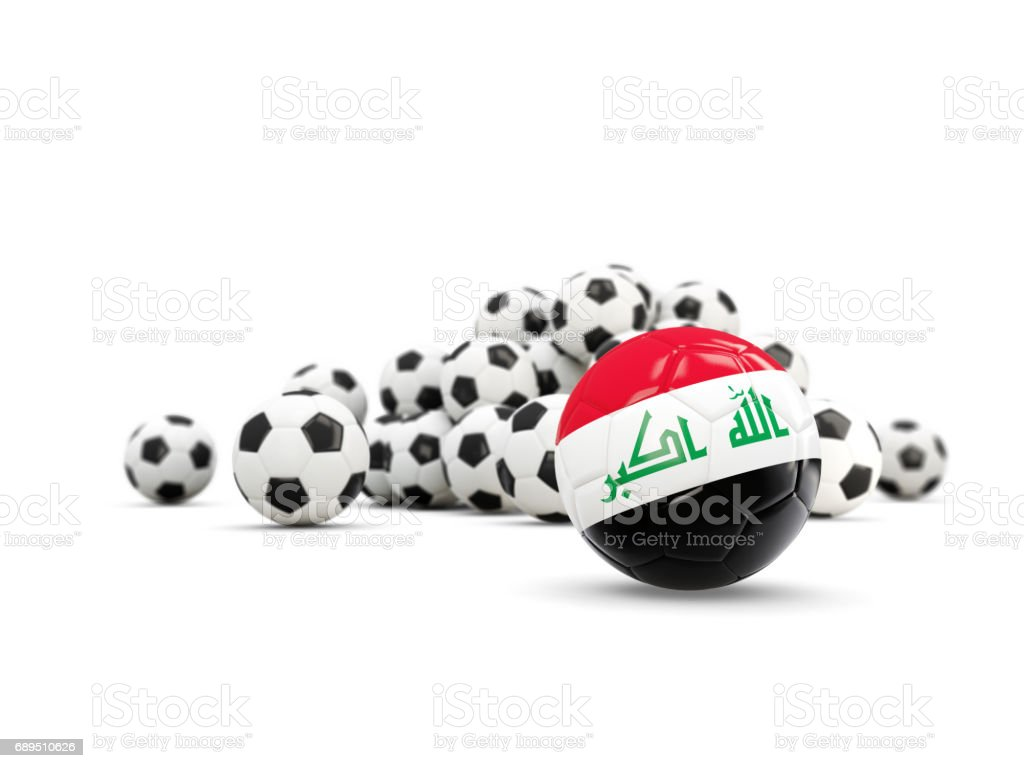 Football with flag of iraq isolated on white vector art illustration