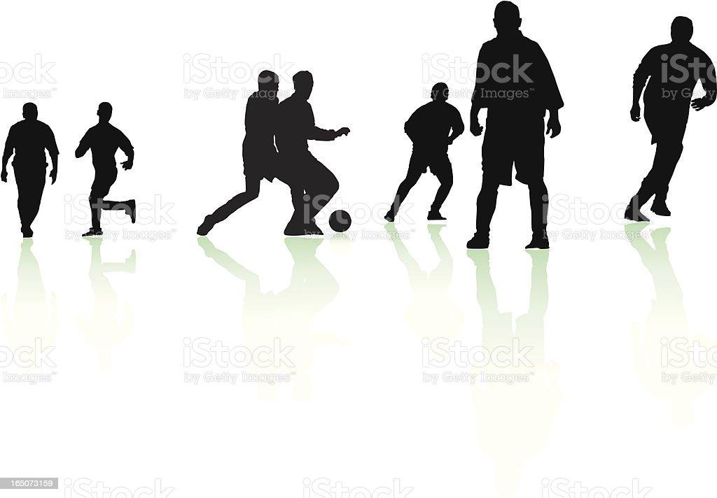 Footballer silhouettes royalty-free stock vector art