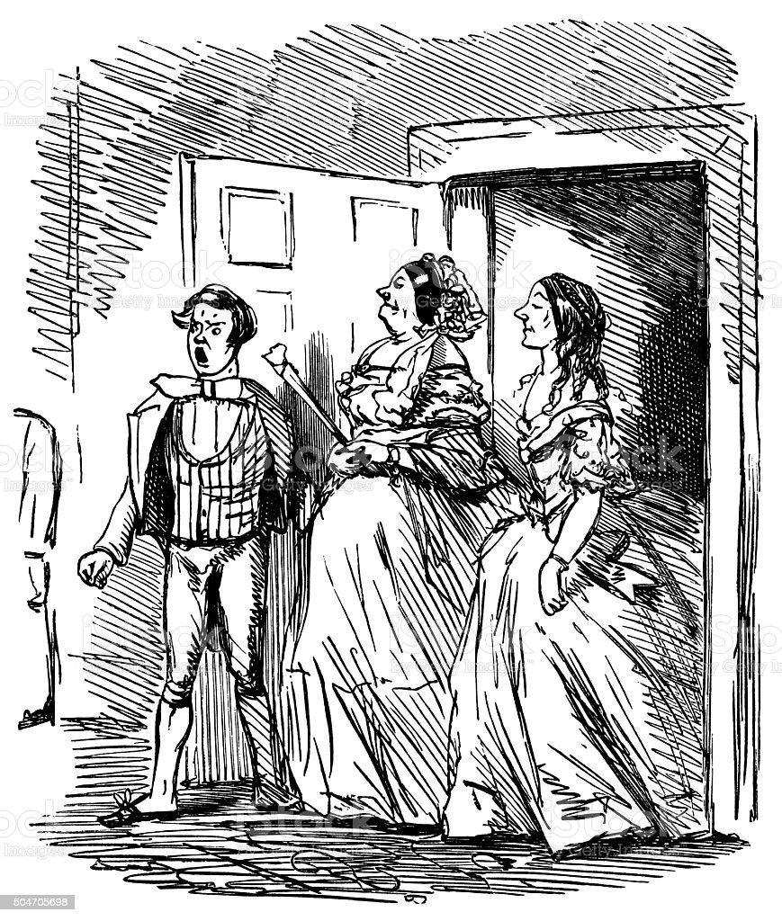 Footman announcing the arrival of two Victorian ladies vector art illustration