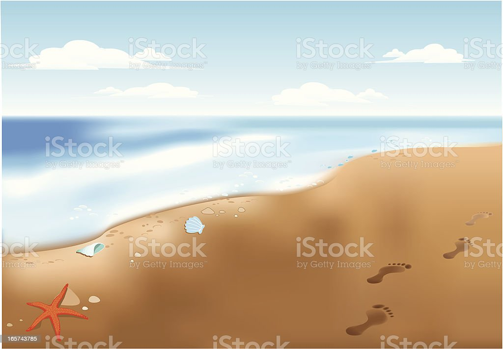 footsteps on beach royalty-free stock vector art