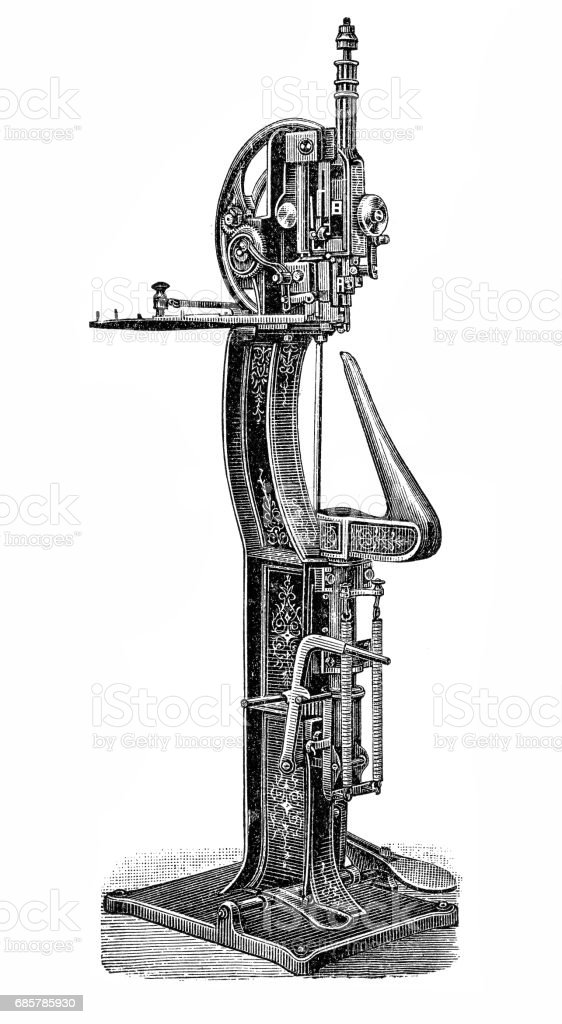 Footwear manufacturing,Shoe flocking machine royalty-free footwear manufacturingshoe flocking machine stock vector art & more images of 18th century