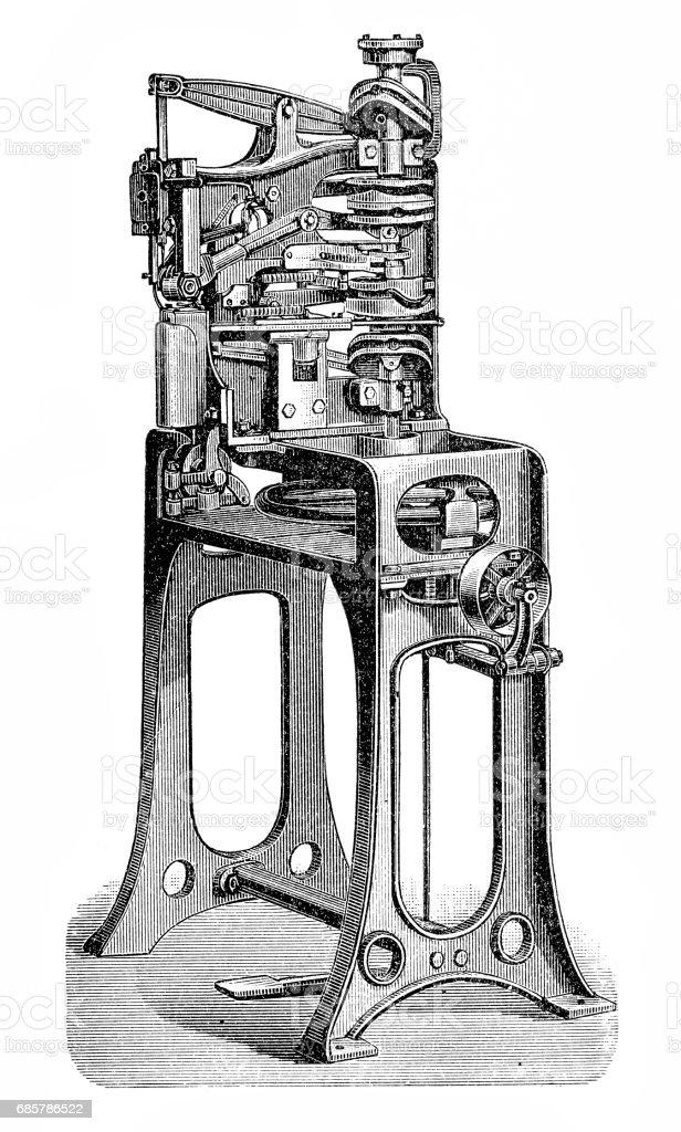Footwear manufacturing,Yellow twin machine royalty-free footwear manufacturingyellow twin machine stok vektör sanatı & 18. yüzyıl'nin daha fazla görseli