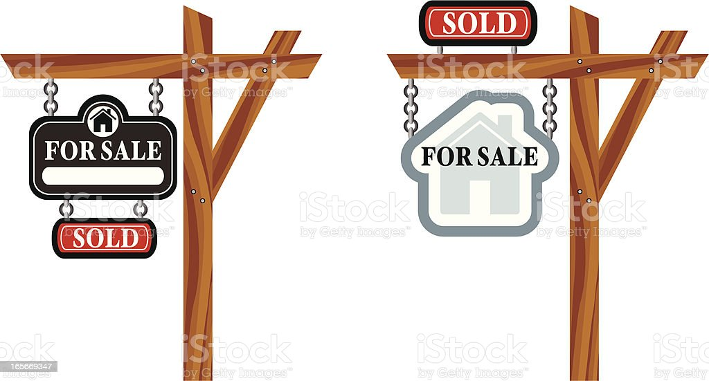 For Sale Signs vector art illustration
