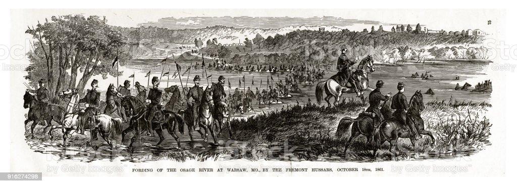 Fording of the Osage River at Warsaw, Missouri by the Fremont Hussars, October 18, 1861 Civil War Engraving vector art illustration