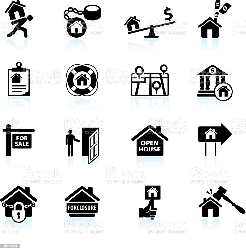 foreclosure in weak real estate market black and white set vector art illustration