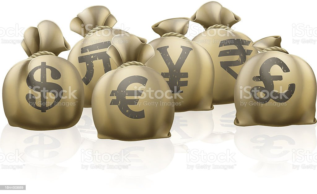 Foreign currency exchange sacks royalty-free stock vector art