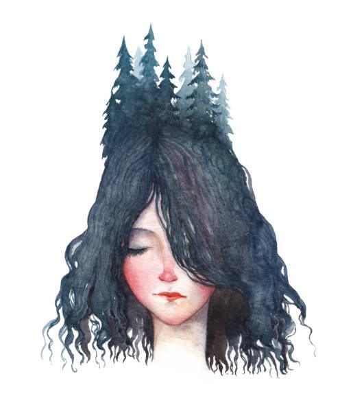 illustrazioni stock, clip art, cartoni animati e icone di tendenza di a forest girl. watercolor portrait isolated on white background. - woman portrait forest