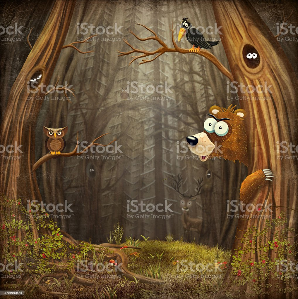Forest landscape with animals vector art illustration
