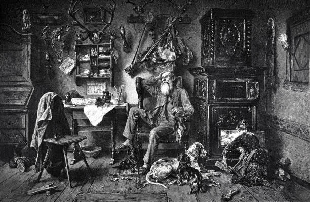 forest ranger sits in his heated living room and smokes a pipe, the woman pushes wood into the oven. - old man sitting chair drawing stock illustrations, clip art, cartoons, & icons