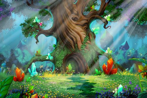Light through trees stock illustrations