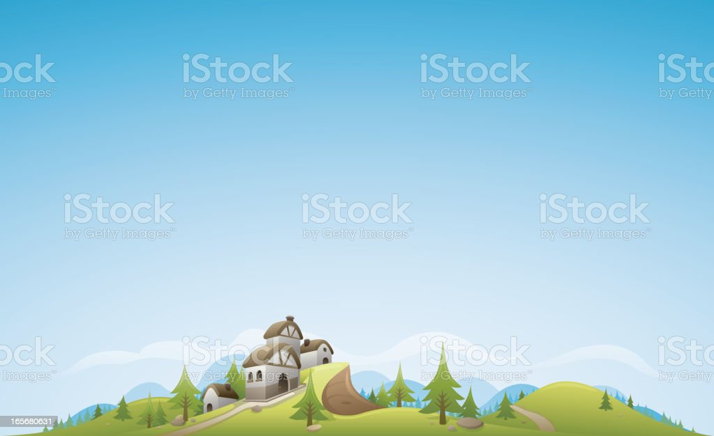Forest & Villa Landscape Background royalty-free stock vector art
