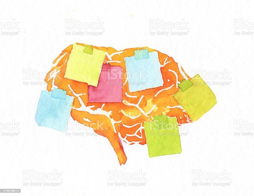 forgetful brain vector art illustration